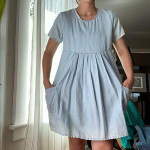 Topshop Dresses - Topshop Chambray Short Sleeve Babydoll Dress
